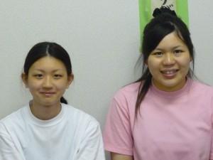 厨房職員、西庄安奈さんと稲地郁香さんです
